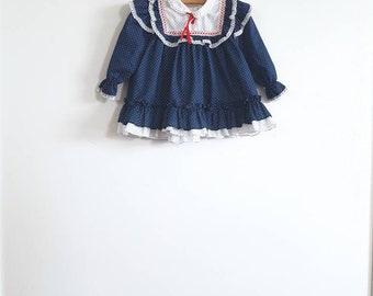 Vintage Navy and White Polka Dot Dress