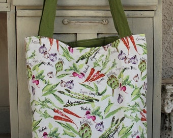 Reversible vegetable Garden shoulder bag/Tote ,  padded market bag, book bag