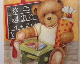 10 Teddy bear paper napkins to study art   3432