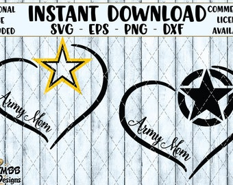 Instant Download - Personal Use Army Mom Heart (includes both) - Message me and I can customize - Svg Png Dxf Eps - cut svg files, Shirt
