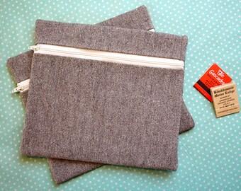 Sandy Brown and Natural Canvas Zipper Pouch/Purse/Bag