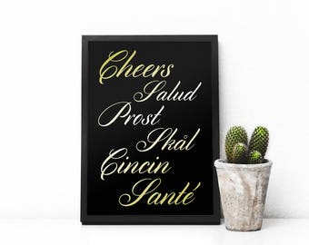 Gold Cheers Sign, Foreign Languages digital art print, Faux foil effect, Prost, Skal, Cincin, Sante, Salud, drink,fancy, wall decor, digital