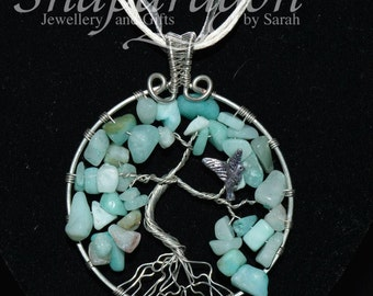 Amazonite tree of life with nesting bird charm