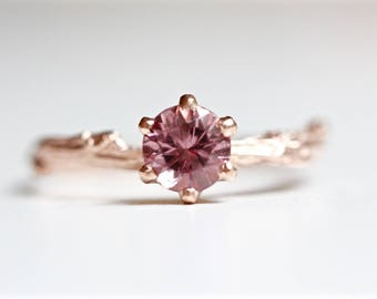 Pink Garnet Solitaire Ring in Recycled 14k Gold - Round Faceted Prong Set Blush Pink Gemstone - Engagement Ring - Diamond Alternative