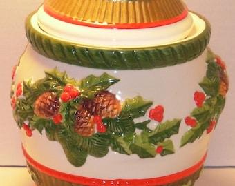 Holly Christmas Cookie Jar. World Bazaars, Inc. Round.