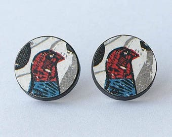 pheasant earrings, pheasant earrings retro, pheasant earrings studs, RETRO PHEASANT, sterling silver post and butterfly