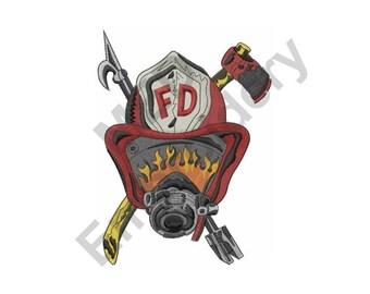 Fireman - Machine Embroidery Design, Fireman Helmet