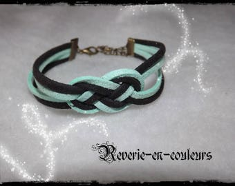 "Bracelet suede sailor knot ""mint"""