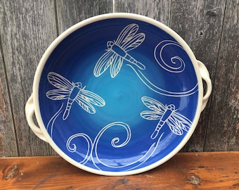 Blue Dragonfly Serving Bowl with Handles