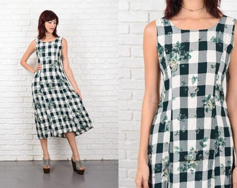 Vintage 90s Green + White Gingham Plaid Dress Floral Print midi XS 10572