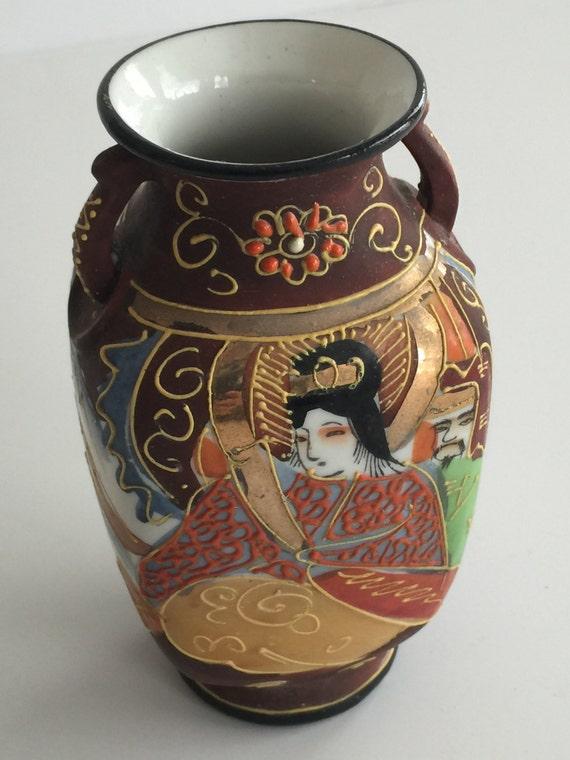 Antique Satsuma Vase Hand Painted Stamped Vintage Satsuma