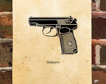 KillerBeeMoto: Vintage Soviet Russian Makarov Pistol Print