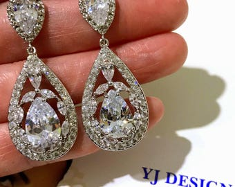 Marquise Bridal Earrings, Cubic Zirconia Earrings, Teardrop Wedding Earrings, Cz Drop Earrings, Sterling Silver Post Earrings, EDWINA