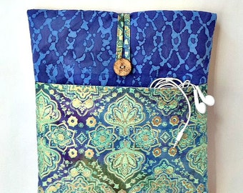 "MacBook 12 inch sleeve, MacBook 12 inch Case, MacBook 12"" Case, Batik MacBook Case, Laptop Bag, Laptop Case, Laptop Sleeve, Blue Green Sac"