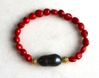Little Luxe Simple Stacking Stretch Bracelet in Red Coral, Freshwater Pearl & Vermeil...
