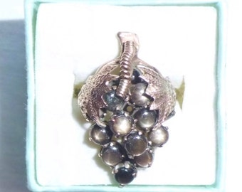 Estate 14k Gold HEAVY Vintage Star Sapphire Ring Grape Leaf Bunch Dinner 5.6g sz 7.25 Large Big Grand Statement Grapevine Vine 14 k kt 14kt