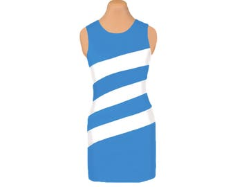 Light Blue and White Diagonal Stripe Dress