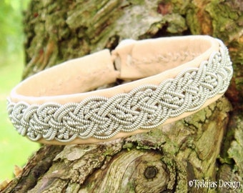 Sami Natural Reindeer Leather Bracelet YGGDRASIL Nordic Viking Braid Women Men's Bracelet Cuff - Handcrafted Natural Tribal Elegance
