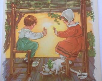 Pease-Porridge Hot - A Clara M Burd Vintage Print 1930s Childrens Book Print