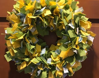 Green yellow and light blue rag wreath – spring time