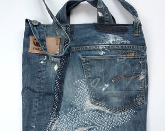 Self catering in unique handbag, made from old but beautiful worn jeans.