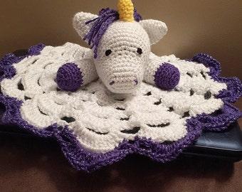 Crochet Sparkle Unicorn Lovey Travel Security Wubby Blanket Snuggle Amigurumi Toy