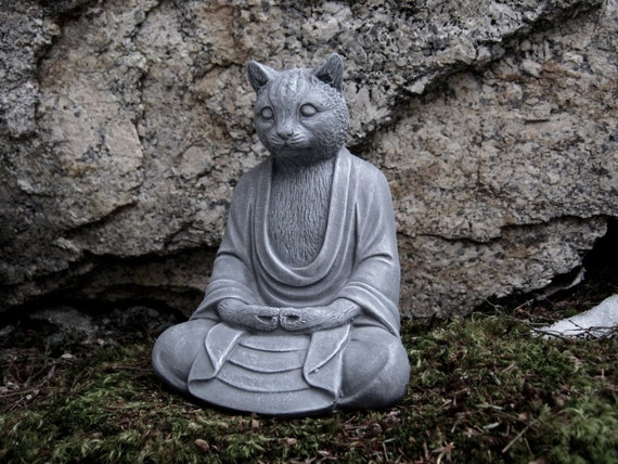 Buddha Cat Statue Concrete Cats Buddha Figure Cement Garden