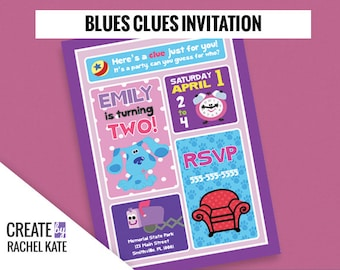 Blues Clues Birthday Party Personalized Printable Invitation Invite Grid | Color - Pink