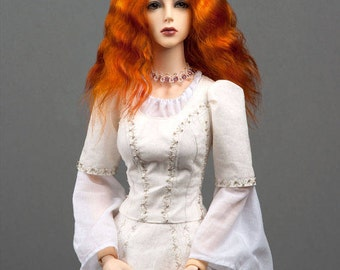 """Gorgeous red angora goat wig  for SD, supergem or other doll with 8-9"""" head"""