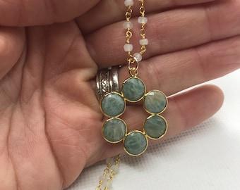 Green blue amazonite flower pendant on moonstone rosary chain