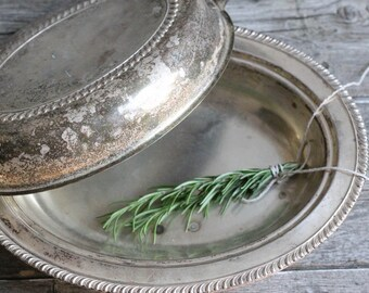 Vintage Silver Bowl with lid, Silver Dishes, Vegetable Bowl with lid, Oval , Shabby Chic Wedding, Wedding Tablescape
