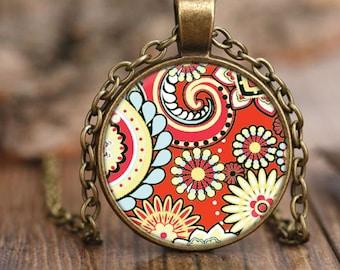 Vintage Style Orange Paisley Pendant Necklace, Bohemian Style