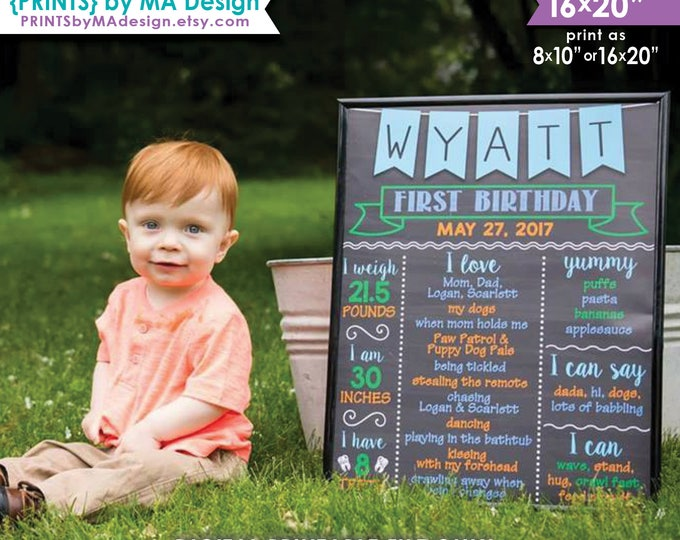 "First Birthday Poster, 1st B-day, Boy's First Birthday Personalized Milestones Chalkboard Style PRINTABLE 8x10/16x20"" Custom Stats Sign"