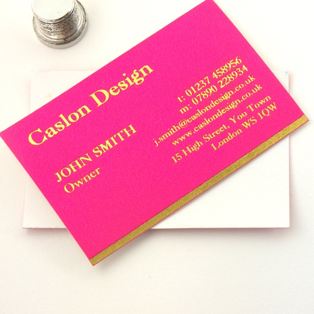 100 Custom Design Hot Pink Business Cards Printed with Gold or