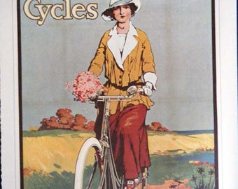 Vintage Bicycle Poster HALF OFF TODAY Kynoch Cycles and World Bicycle Championships Poster Size Book Plate