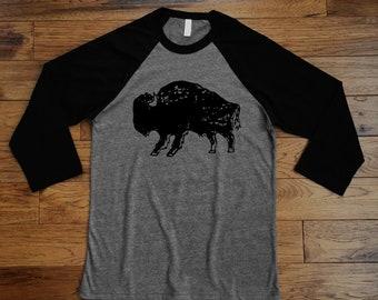 Men's / Unisex Baseball Shirt / Bison Print / Black & Grey / 3/4 Sleeve / Tshirt Graphic Tee / Screen Print by Hand