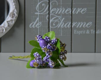 Set of 2 bunches of flowers artificial purple color