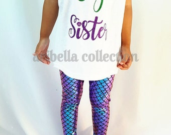 Mermaid Leggings Girls Little Toddler Purple Blue Teal Iridescent Multi Color Two Tone Fish Scale Pants Birthday Party Outfit Gift Costume