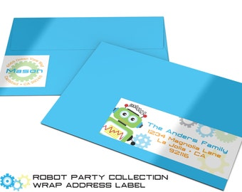 Robot Return Address Label | Address Wrap | Robot Birthday | Robot Birthday Party | Return and Recipient Address