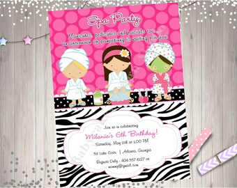 Spa Party invitation spa birthday party invite spa day spa party birthday invitation spa party printables CHOOSE YOUR GIRLS