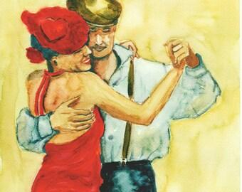 Watercolor Art Print 8x10 of an original watercolor Tango dancers pair