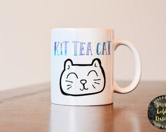 Kit Tea Cat Mug, Tea Lovers Mug, Gift for Tea Lover, Gift for Cat Lover, Cat Lover Gift, Cat Lover Mug, Tea Lover Mug, Cat Mug, tea Mug