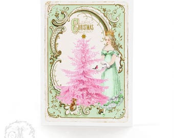 Snow Queen, Christmas card with pink Christmas tree, vintage style holiday card