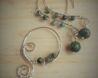 African turquoise and silver, wire wrapped, earrings and pendant