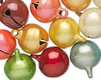 20 Pack of Bells, Catseye, Assorted colors, 14mm with a 2mm top loop