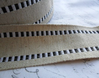 Natural Burlap and Black woven Ribbon 1.5 inches wide with wired edge