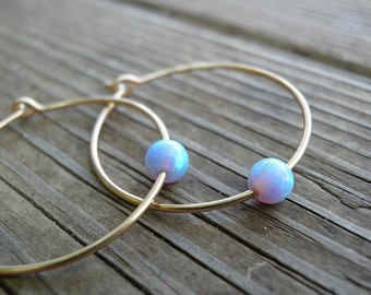 Gold Opal Hoops Earrings, Bridal Jewelry, Bridesmaids Jewelry, Tiny 4mm Blue Opal Hoops Earrings, White/Pink Opal Earrings, Statement Gift