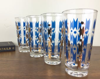 Midcentury Modern Teal-and-Gold Geometric Pattern Tapered Highball Glasses, Set of 4—Classic 1950s Style