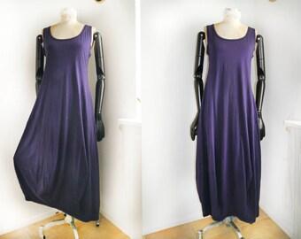 Jersey Maxi Dress Dutch designer balloon Dress purple 90s fashion natural sleeveless day dress  boho