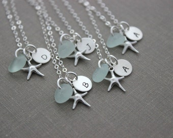 Sterling Silver Starfish bridesmaid necklaces, Personalized Charm Necklaces with genuine Sea glass and Initial Charm Wedding Bridesmaid Set